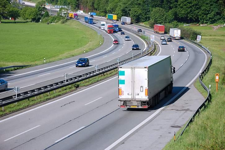 traffic on german autobahn,european cars and trucks