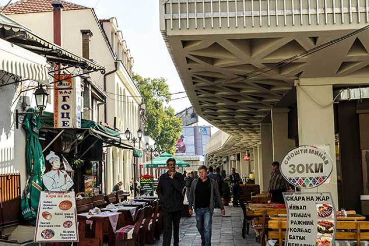 Walking try the alley of Old Bazaar, Skopje, Macedonia