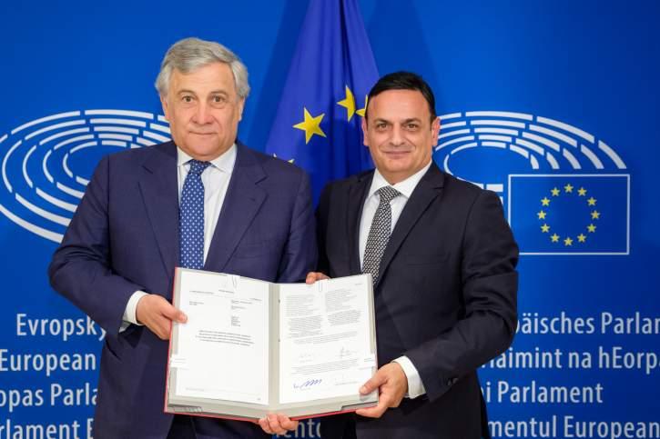 Antonio Tajani, President of the EP and David Casa MEP
