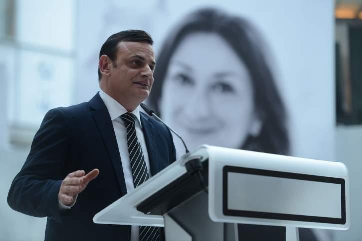 Quaestor David Casa speaking during the event, paying tribute to Daphne Caruana Galizia