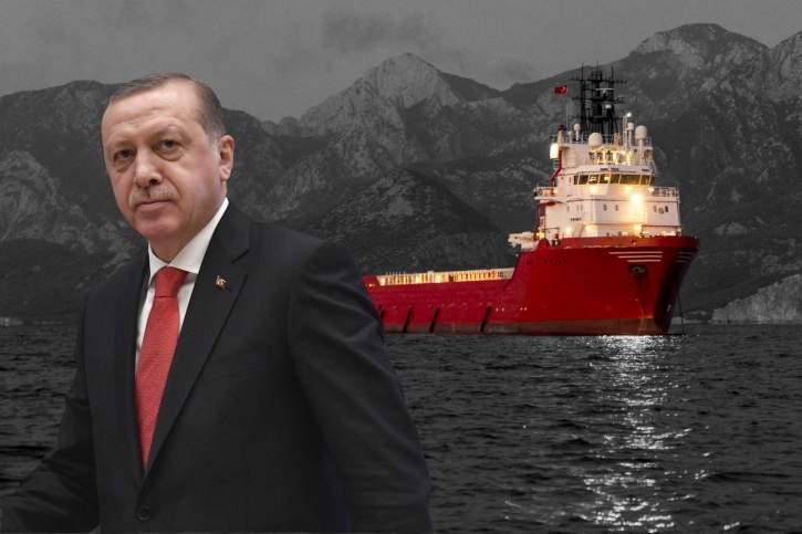 Φωτογραφία του Ερντογάν με φόντο τουρκικό πλωτό γεωτρύπανο