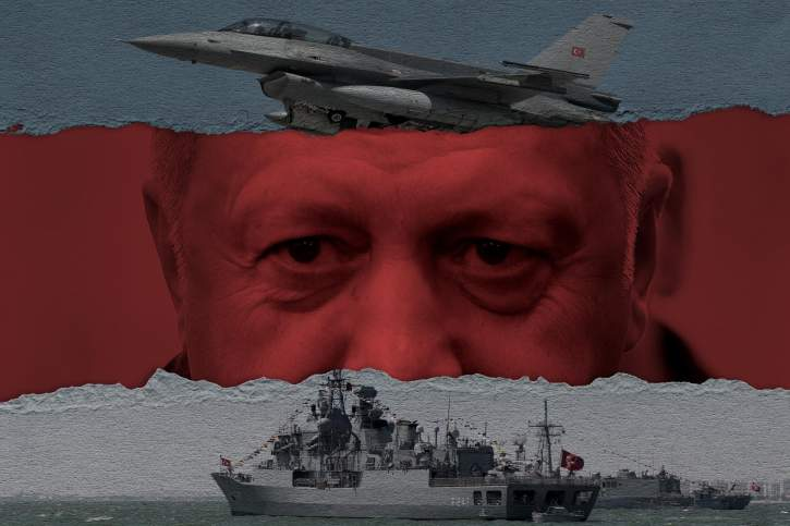 Φωτογραφία του Ερντογάν με φόντο τουρκικά πλοία και αεροπλάνα