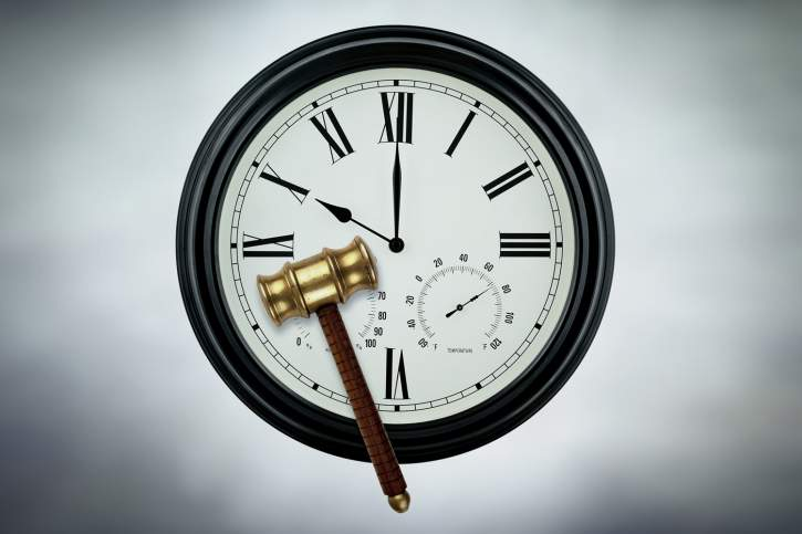 clock with a judge hammer