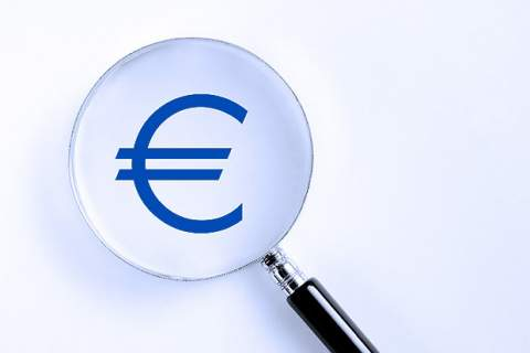 Euro symbol in the magnifying glass