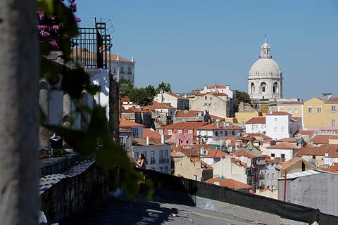 Lisbon rooftops and church dome