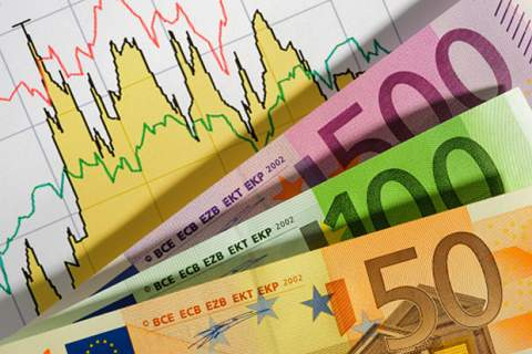 Business finance chart and Euro banknotes