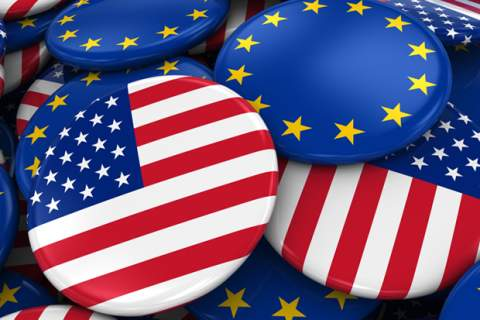 Flag Badges of America and Europe