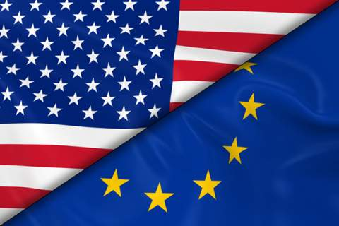 Flags of the USA and Europe