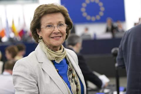 Pilar Ayuso before a debate in Strasbourg