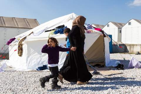 Refugees living in tents