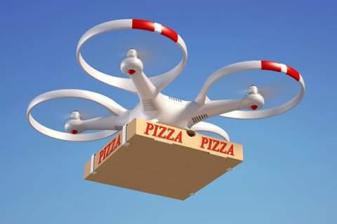 Drone delivering pizza box