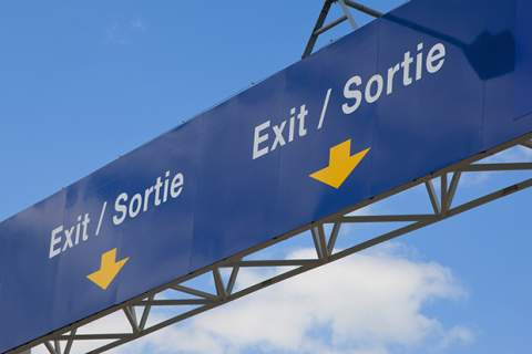 Border Entry / Exit signage between UK and France
