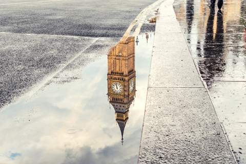 Big Ben reflection in a puddle in London, United Kingdom