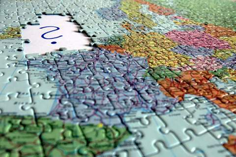 Brexit Jigsaw puzzle displaying european map missing Great Britain