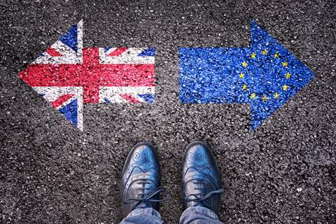 Brexit, flags of the United Kingdom and the European Union