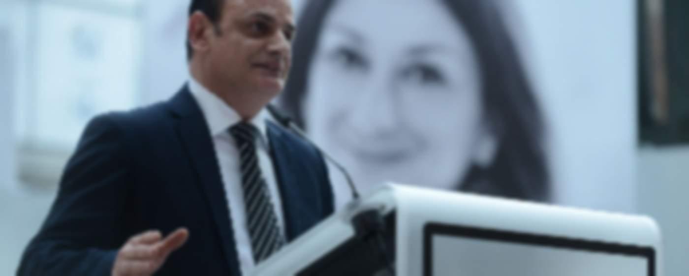Quaestor David Casa addressing an event honouring Daphne Caruana Galizia at the European Parliament