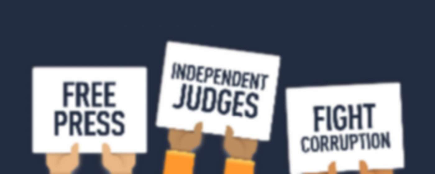 cartoon picture with hands holding banners for free press, independent, justice, free speechch