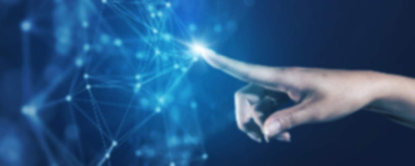 A finger touching the global network connection with digital interface technology